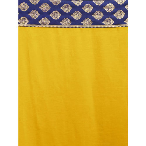 Mirchi Fashion Yellow & Navy Blue Poly Chiffon Solid Saree