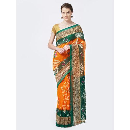 Rajesh Silk Mills Yellow & Green Silk Cotton Bhagalpuri Bandhani Print Saree