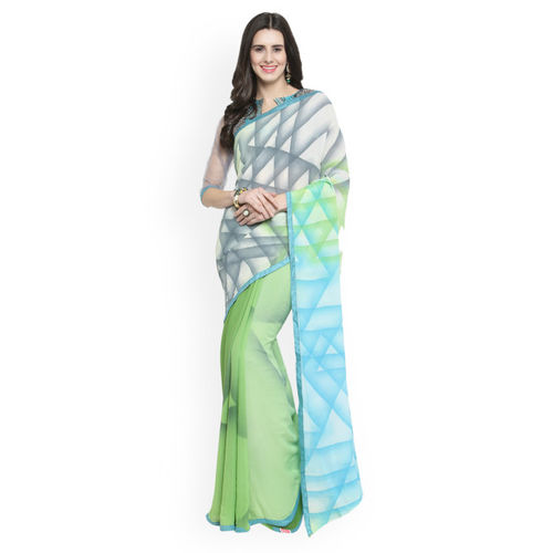 Shaily Grey & Green Pure Georgette Printed Saree