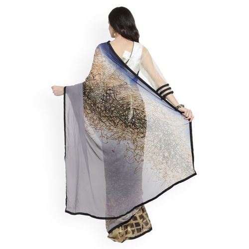 Shaily Grey Printed Pure Georgette Saree