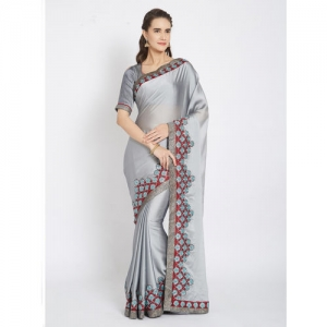 Indian Women Grey Solid Pure Georgette Saree