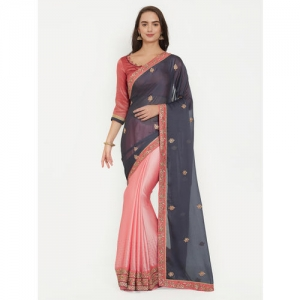 8763dcddc52 Indian Women Grey   Pink Pure Chiffon Embroidered Saree