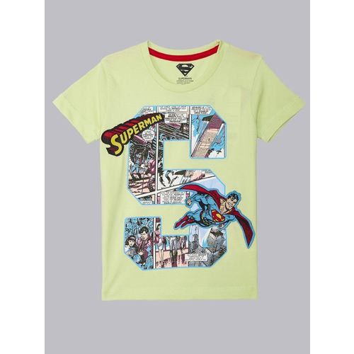 Superman By Kidsville Boys Graphic Print Cotton Blend T Shirt(Green, Pack of 1)