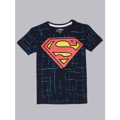 Superman By Kidsville Boys Graphic Print Cotton Blend T Shirt(Blue, Pack of 1)