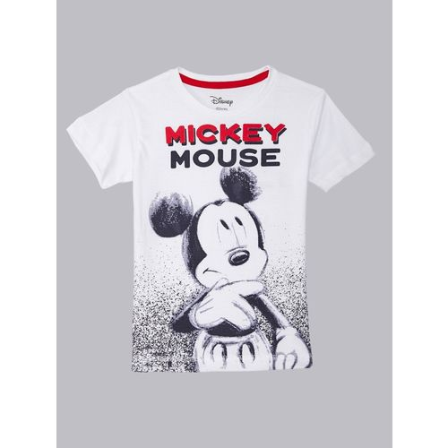 Mickey By Kidsville Boys Graphic Print Cotton Blend T Shirt(White, Pack of 1)