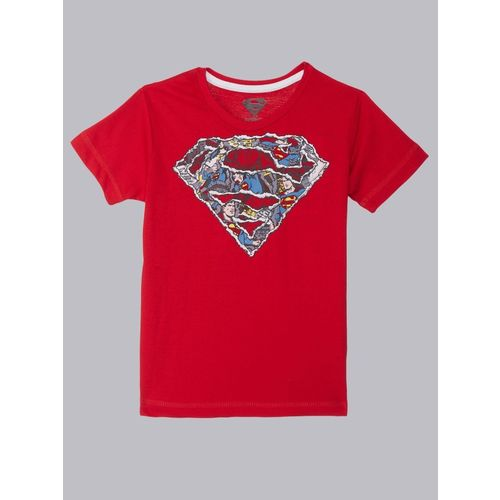 Superman By Kidsville Boys Graphic Print Cotton Blend T Shirt(Red, Pack of 1)