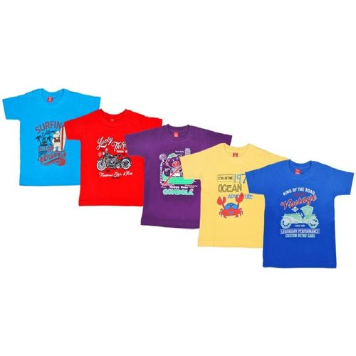 Knit Vey Boy's Printed Cotton T Shirt(Red, Pack of 5)