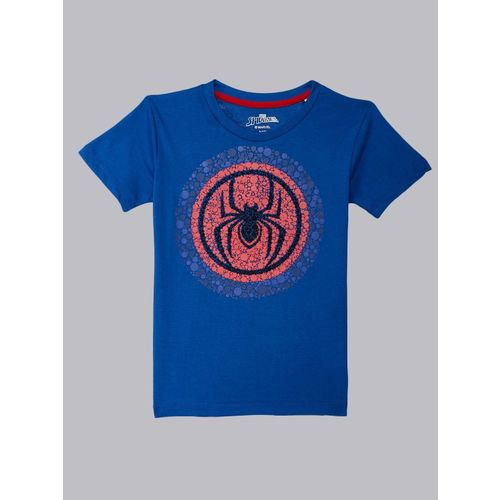 Spiderman By Kidsville Boys Graphic Print Cotton Blend T Shirt(Blue, Pack of 1)