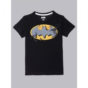 Batman By Kidsville Boys Graphic Print Cotton Blend T Shirt(Black, Pack of 1)