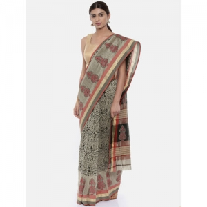 gocoop Grey & Black Silk Cotton Printed Maheshwari Saree