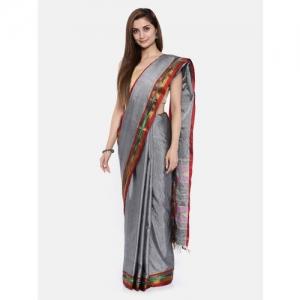 Pavechas Grey Pure Cotton Solid Venkatgiri Saree
