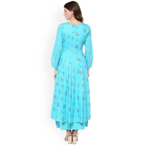 Idalia Women Turquoise Blue Printed Anarkali Kurta