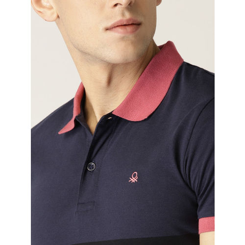 United Colors of Benetton Men Navy Blue & Pink Colourblocked Polo Collar T-shirt