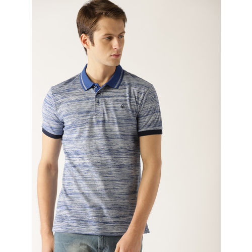 United Colors of Benetton Men Blue Striped Polo Collar T-shirt