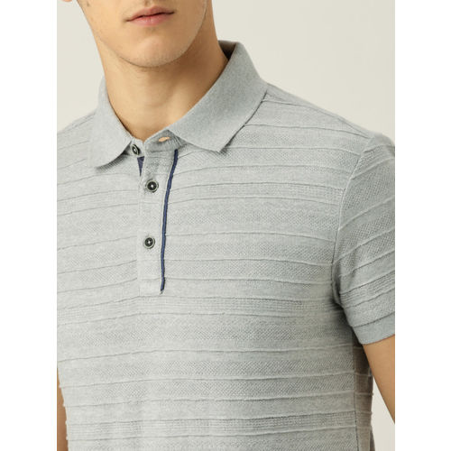 United Colors of Benetton Men Grey Self Design REVERSE JACQUARD Polo Collar T-shirt