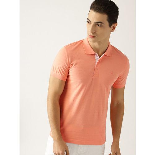 United Colors of Benetton Men Peach-Coloured Self-Striped Polo Collar T-shirt