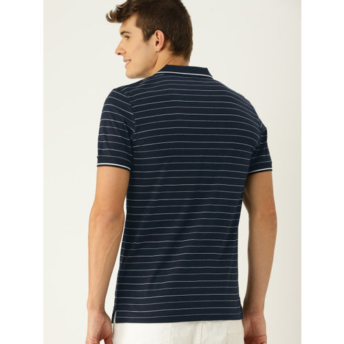 United Colors of Benetton Men Navy Blue & White Striped Polo Collar T-shirt