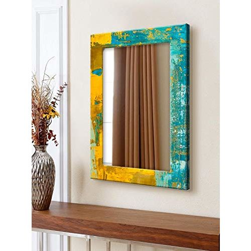 999Store Blue & Yellow Printed MDF Wall Mirror