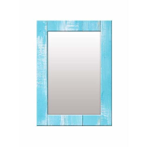 999Store Printed Blue Wooden Pattern Mirror