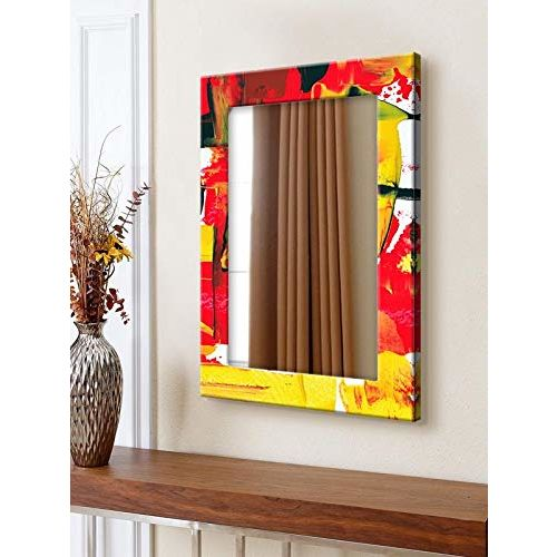 999Store Printed red Yellow Abstract Pattern Mirror