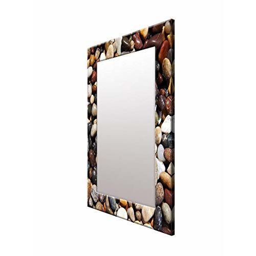 999Store Printed Brown Stone Rustic Pattern Mirror