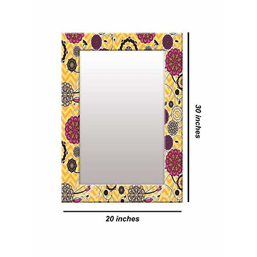 999Store Printed Yellow Floral Art Pattern Mirror