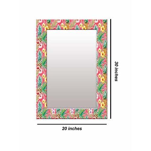 999Store Printed Pink Fruit & Flower Pattern Mirror