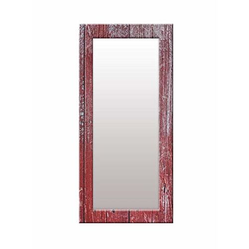 999Store Printed red Wooden Pattern Mirror