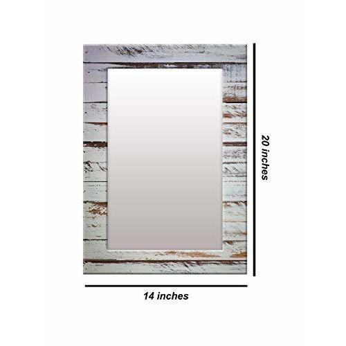 999Store Printed Grey Wooden Pattern Mirror