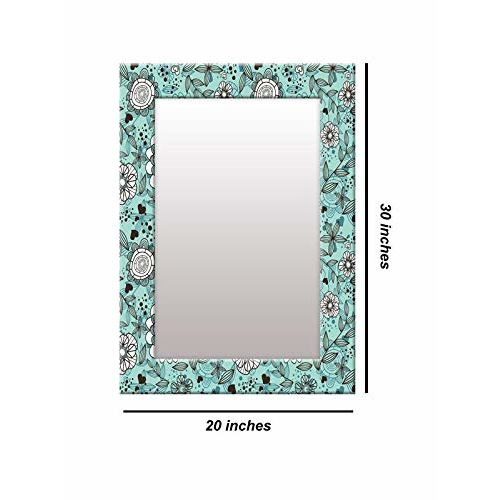 999Store Printed Black Leaves and Flower Pattern Mirror