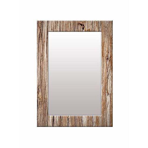999Store Printed Brown Wood Pattern Mirror