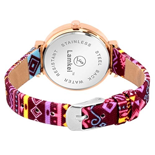 Lamkei Imported Analogue Multicolour Fabric Strap Womens Watch LMK-0041