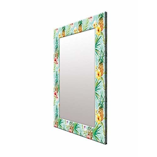 999Store Printed Green Fruit & Flower Pattern Mirror