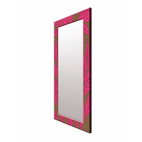 999Store Printed Pink Leaves Pattern Mirror