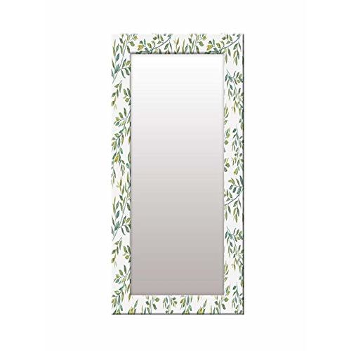 999Store Printed White Green Leaves Pattern Mirror