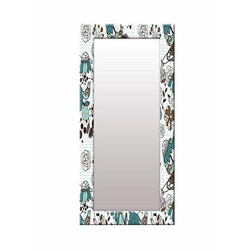 999Store Printed Blue Flowers Pattern Mirror