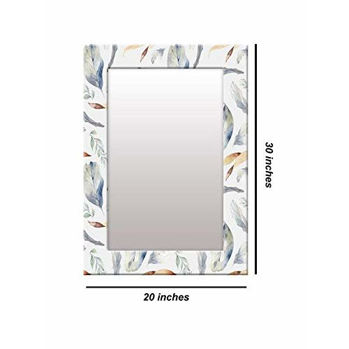 999Store Printed White Leaves Pattern Mirror