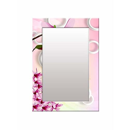 999Store Printed Pink Flower Pattern Mirror