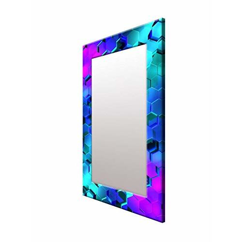 999Store Printed Blue 3D Polygon Marble Pattern Mirror