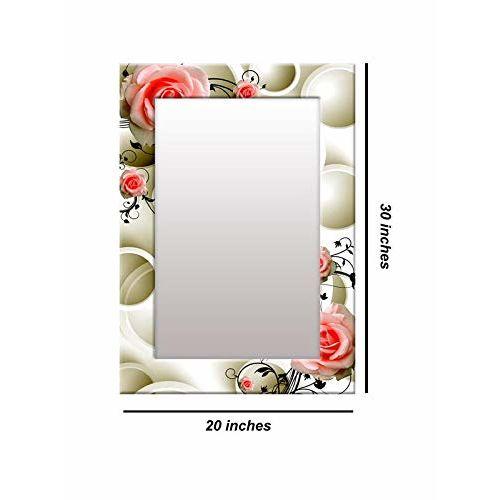 999Store Printed White 3D Rose Flower Pattern Mirror