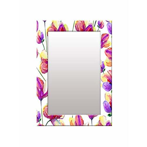 999Store Printed Purple Flower Pattern Mirror