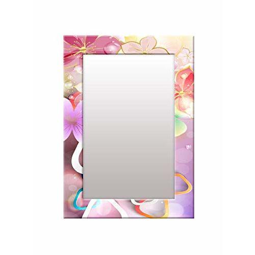 999Store Printed Pink 3D Flower Pattern Mirror