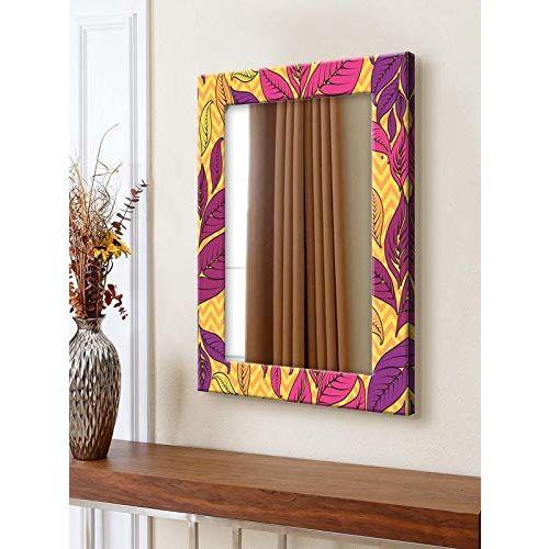 999Store Printed Purple& Yellow Leaves Pattern Mirror