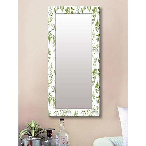 999Store Printed White Leaves Flower Pattern Mirror