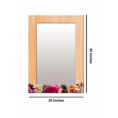 999Store Printed Brown Wood red Rose Flower Pattern Mirror