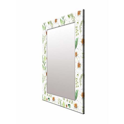 999Store Printed White Leaves Flower Pattern Mirror