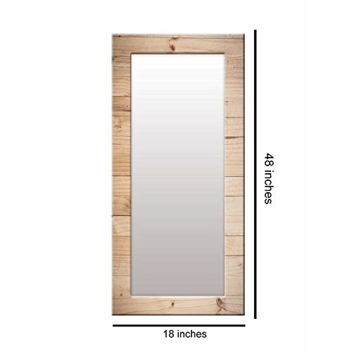 999Store Printed Brown Wooden Pattern Mirror