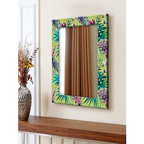 999Store Printed Multi Leaves Pattern Mirror