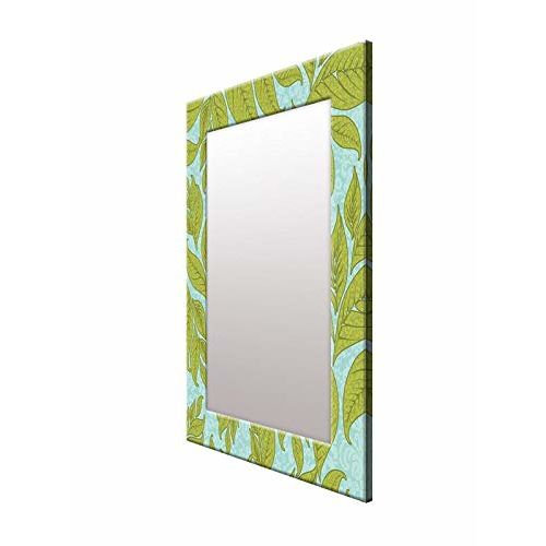 999Store Printed Green Leaves Pattern Mirror