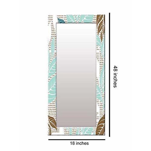 999Store Printed Blue Leaves Pattern Mirror